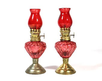 Two Miniature Antique Pink Glass Hurricane Oil Lamps
