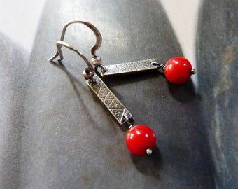 Red coral silver earrings, rustic dangles, 30th 40th 50th birthday gift, affordable gift, for wife, for mother, for sister, anniversary gift