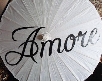 Wedding Parasol Umbrella Decor Amore White Ivory Wedding Ceremony Decoration Custom Sign Love Photo Prop