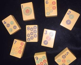 9 Vintage Bakelite Mahjong Tiles - Circles