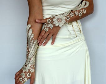 Gold Lace Long Gloves, Evening Guipure Lace Arm Charms, Bridal Fingerless Gloves, Modern Wedding, Bridesmaids Gift