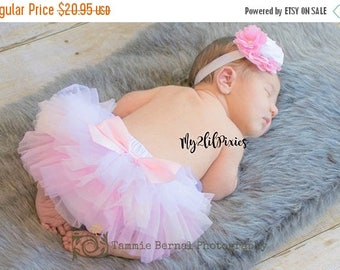 SALE BABY TUTU Bloomer and Headband, Pink, light pink and white tutu, All around ruffle tutu, Newborn tutu, Baby Girl set, Baby girl headban
