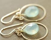 Seafoam Gemstone Chandelier Earrings, Gold Boho Chic Dangle Earrings with Teal Blue Gemstones