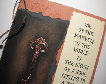 PRISONER'S KEY ~ Mixed media collage greeting card with keepsake bookmark, quote by Rumi
