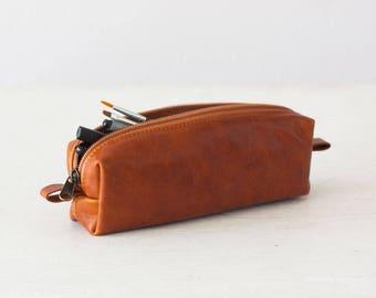 Brown leather pencils case, rectangular accessory bag purse case glasses markers zipper pouch