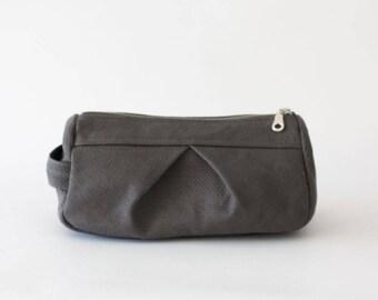 Makeup bag in grey canvas, toiletry case cosmetic storage case accessory bag in cotton canvas - Estia Bag