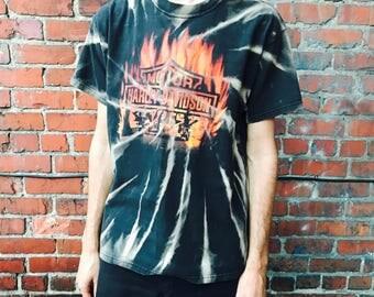 Vintage Harley Davidson Bleached Flame Shirt