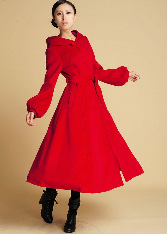 Red Wool coat hooded coat maxi coat long coat Winter coat