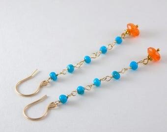 Denver Bronco Earrings - Blue and Orange Long Earrings - Football Jewelry - AdoniaJewelry