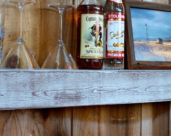 """Rustic Wood - Home Decor - 46"""" - Wet Bar Shelf - Reclaimed Wood - Whitewashed Gray - Floating - Wall Hanging - Farmhouse Chic - Shelves"""