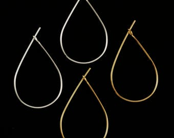 20 Pairs Teardrop Beading Hoops - Economical 27mm X 17mm - Silver or Gold Plated - 100% Guarantee