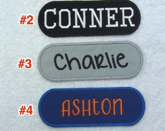 Personalized Single Name Patch Fabric Embroidered Iron On Applique Patch MADE TO ORDER