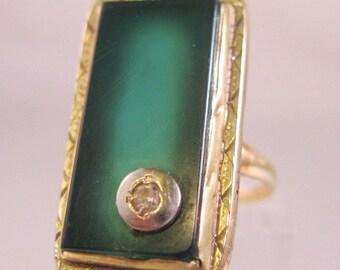 1930s Art Deco 10k YG Diamond Chrysoprase Ring Size 4.5 Vintage Jewelry Jewellery