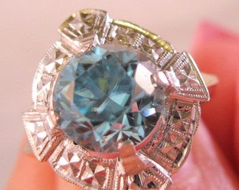 SHIPS 6/26 w/FREE Jewelry Art Deco 10k Blue Spinel Ring 8.7mm Diameter Size 6.75 Vintage Jewelry Jewellery