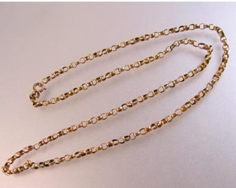 """SHIPS 6/26 w/FREE Jewelry Victorian 1800's Antique 9ct Rose Gold Belcher Chain Necklace 18"""" 4.7g 3mm"""