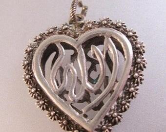 SALE & FREE SHIPPING Arabic Muslim Islam Islamic Allah God Heart Charm Pendant Sterling Silver Vintage Jewelry Vintage Pendant