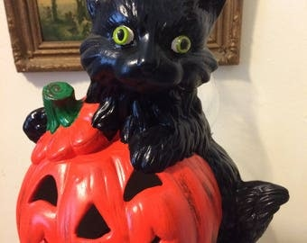 Vintage 80s Ceramic Pumpkin Jack O Lantern Black Cat Orange Black Large Halloween Decor
