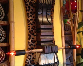 custom handmade carved wood fire twirler tiki wall sconce lamp