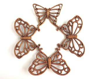 Vintage Wicker-Look Plastic Butterfly Wall Hangings, Set of Four 4 Butterflies, 1978 Syroco Dart Homco, Made in USA, Home Decor
