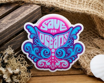 SAVE OUR OCEANS : Orcas, Activism Stickers, Oceania, Activist, Animal Rights, Waterbottle Stickers, Ocean Wave Sticker, Climate Change