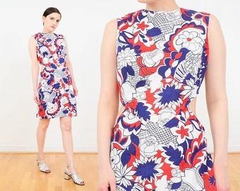 60s Dress | Floral Dress | Cut Out Dress | Sheer Midriff Dress | Mod Shift Dress | Go-Go Twiggy Mini Dress | White Navy Orange | size M L