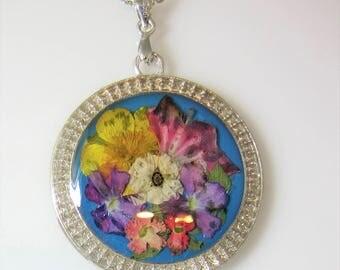 Flowers in Pastel, Pressed Flower Pendant, Real Flower Necklace,  Resin (3023)