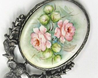 Antique Porcelain Dolls Mirror Art Nouveau Hand Painted Flowers