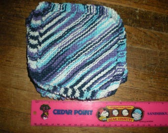 Hand Knit Dishcloth 100% Cotton Homemade Washcloth Blue/Purple/White variegated