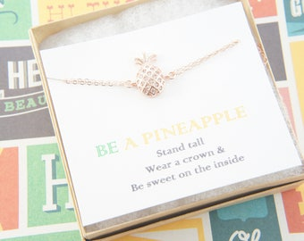 rose gold pineapple bracelet, be a pineapple, gift for women, tropical, Hawaiian, fruit, stand tall, wear a crown and be sweet on the inside