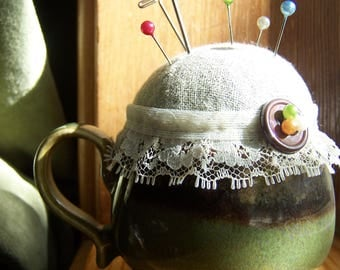Lavender and Flaxseed Linen and Lace Green Tea Cup Pin Cushion