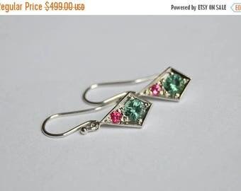 SALE Kite Style Dangly Earrings in 14 K White Gold, Burma Spinel Earrings, Tourmaline Earrings, Pink and Green Earrings, Vintage Style Earri