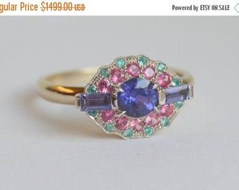 SALE White Gold Gemstone Ring, Sapphire Ring, Paraiba Tourmaline Ring, Mahenge Spinel Ring, Blue Pink Ring, Grace Ring, Halo Ring Colored Ge
