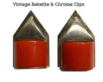 Red Bakelite and Chrome Shoe or Dress Clips. Bauhaus or Art Deco Style. Circa 1930s. Two Inches Long. Tested Bakelite.