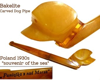 """Bakelite Carved Dog Cigarette Holder Pipe. Novelty From in Poland """"Souvenir of the Sea"""" Circa 1930s. Five Inches Long.Tested Yellow Bakelite"""