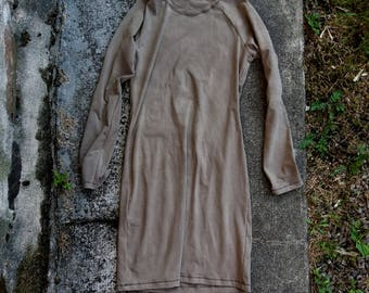 Indie clothing grunge organic grey bamboo dress herbal dye natural minimalist chic rustic hippy long sleeves eco sustainable ethical fashion