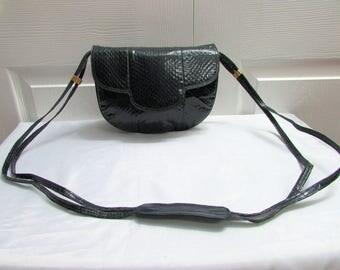 Vintage Barbara Bolan Made in Italy Navy Blue Leather Reptile Skin Cross Body Bag, Barbara Bolan Navy Blue Reptile Skin Shoulder Purse