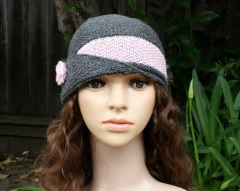 Knitted vintage merino wool gray hat with flower for women and teens