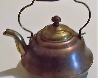 Brass & Copper Teapot, Antique, Made In Holland, Tea Kettle, Wooden Handle,  Aladdin's Lamp, Home Décor, Kitchen Decoration, Watering Can