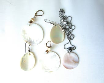 Mother Of Pearl Pendant Lot Earrings MOP Shell Vintage Abalone Supply Charms