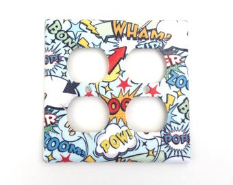 Superhero Comic Book Action Words Double Outlet Plate Cover