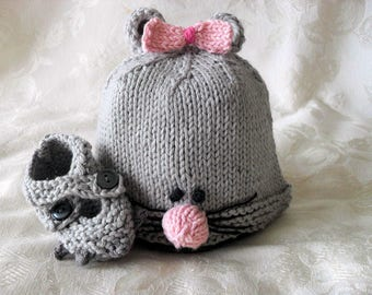 Hand Knitted Baby Mouse hat and Matching  Booties Knitted Animal Baby Beanie Knitting Knitted Newborn Baby Hat Children Clothing Halloween