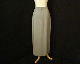 Long Gray Skirt Sophisticated Chic UpTown Simulated Wrap Style Richards Skirt M