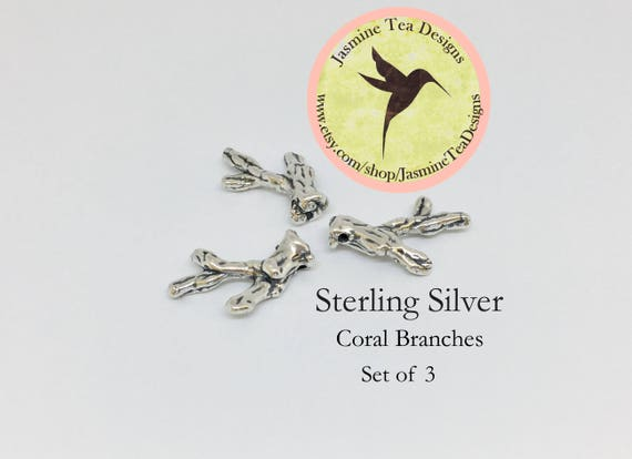 Sterling Silver Coral Branches, Set Of Three Sterling Silver Hollow Coral Branches, Coral Branches For Silvery Sea