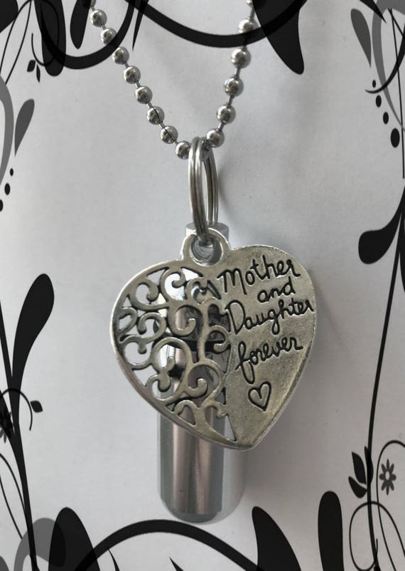 "Personal Cremation Urn ""Mother and Daughter Forever""  With Velvet Pouch, 24"" Ball Chain Necklace and Fill Kit"