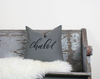 """18""""x18"""" Dark Gray Linen with Black Ink """"Chalet"""" Pillow Cover"""