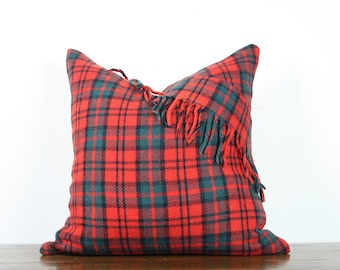 "20""x20"" Red and Green Plaid Vintage Wool Pillow Cover with Fringe Detail 