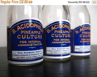 Memorial Day Sale. Trio of Vintage Glass Bottles. B. Acidophilus Pineapple Culture for Internal Administration. The Ferment Company, New Yor