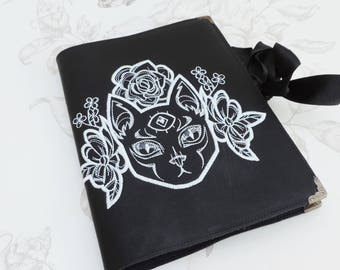 Mystic cat notebook black- third eye-faux leather- Journal-book - diary- travel-witch- witchcraft -occult-gothic steampunk
