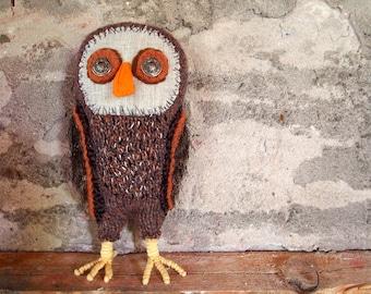 Artistic Owl, waldorf owl, owl soft sculpture, fabric owl, nursery owl, woodland owl