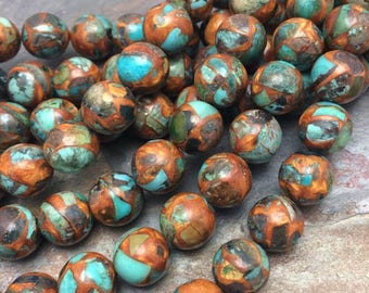 Impression Jasper Round Mosaic Gemstone Beads, 12mm, 7 inch strand